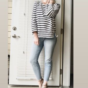 J. Crew Tops - J Crew Striped Top with Beaded Detail Size L